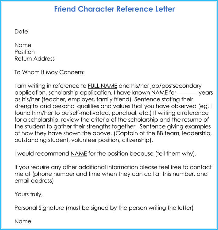 Character Reference Letter  Professional Samples And Writing Tips