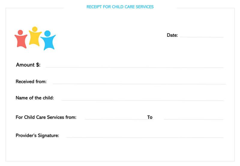 Child Care Services Receipt