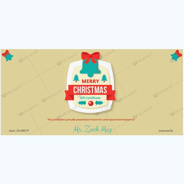 Christmas Certificate (Green Bells)
