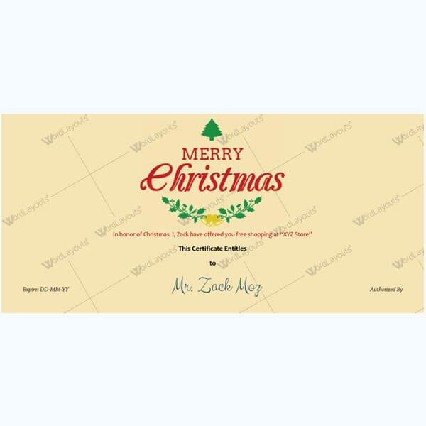 Christmas Certificate (Leaves & Bells)