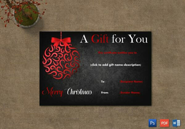 Christmas Gift Certificate – Black Border – Word, PDF