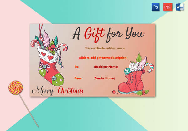 Christmas Gift Certificate – Red Socks Full With Candies