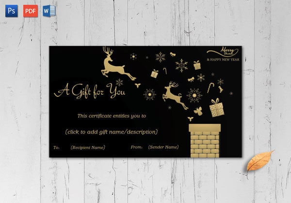 Christmas Gift Certificate- Bold Black Background