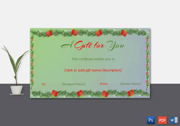 Christmas Gift Certificate – Green With Blue Trimmed Background