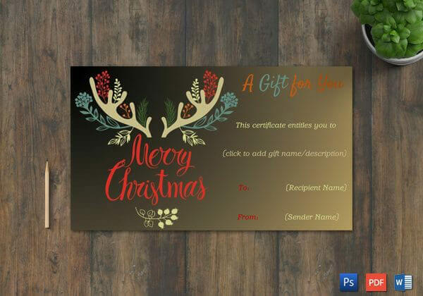 Christmas Gift Certificate – Black,Gold Themed