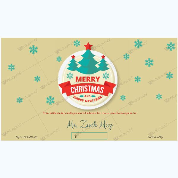 Christmas Certificate (Raining Snow)