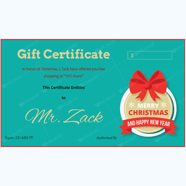 Christmas Certificate (Red Gift Knot)