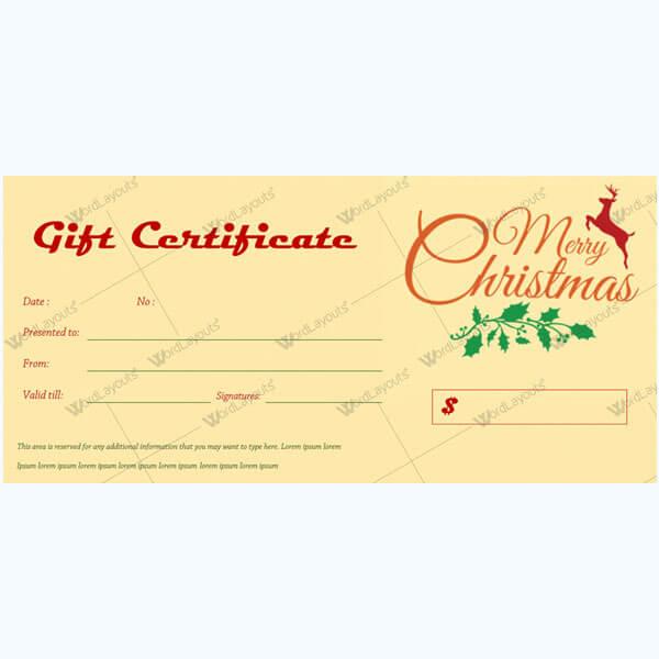 Christmas Certificate (Reindeer & Leave)