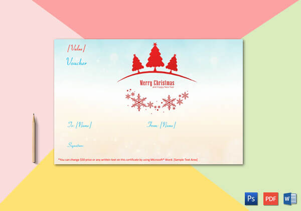 Christmas Gift Certificate (Sky Blue and Pink Shaded Background)