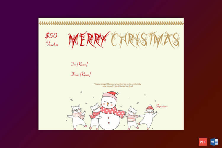Christmas Gift Certificate Snow Man Themed
