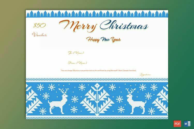 Christmas Gift Certificate Reindeer Border