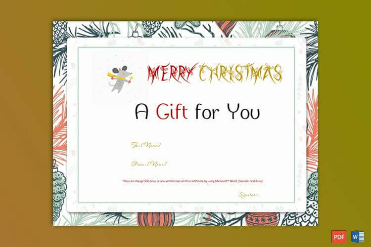Christmas Gift Certificate Word Format