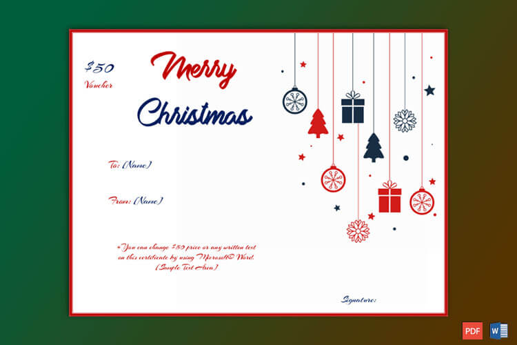 Christmas Gift Certificate Hanging Ornaments Theme