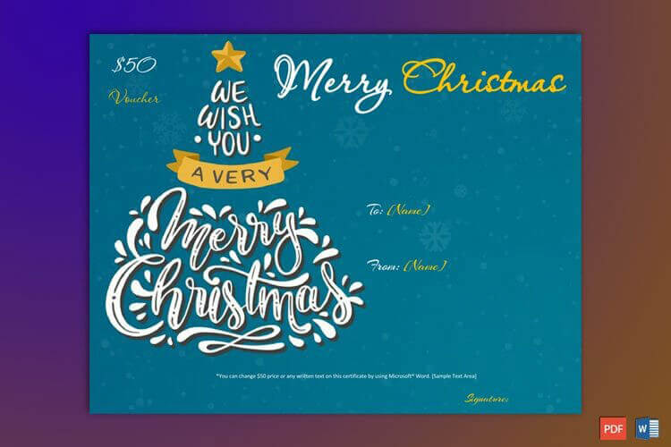 Christmas Gift Certificate Blue Yellow Border