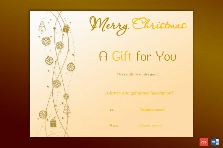 Christmas Gift Certificate Yellow Brown Theme
