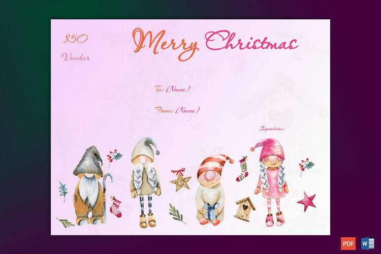 Christmas Gift Certificate Pink Themed Border