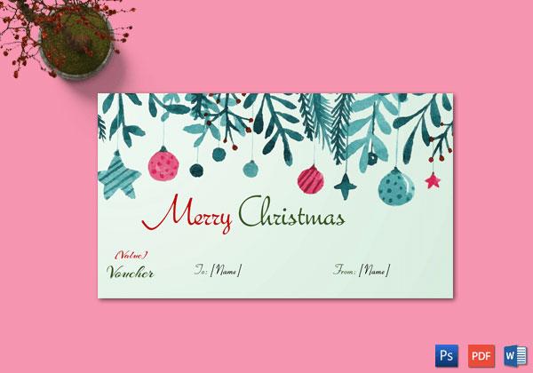 Christmas Gift Certificate – Sky Blue Themed Design