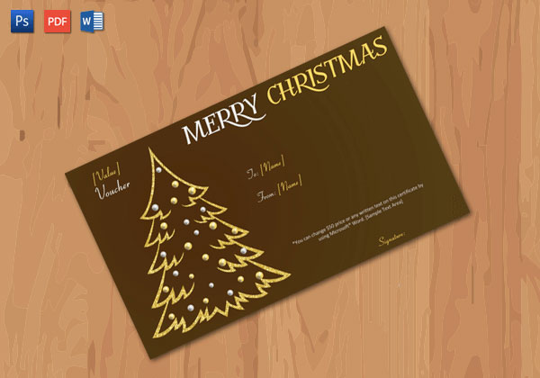 Christmas Gift Certificate – Brown,Gold Themed