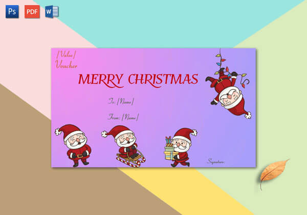 Christmas Gift Certificate (Pink,Purple Themed)