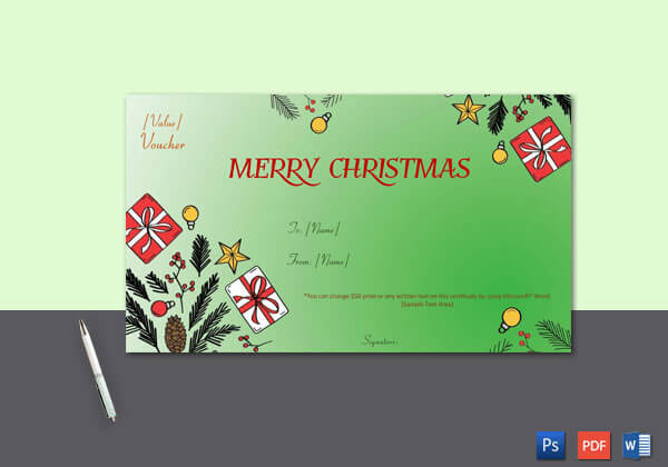 Christmas Gift Certificate – Green,White Themed Background