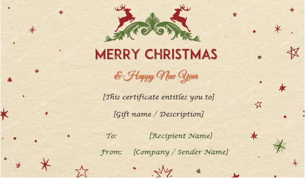 Camel Texture Christmas Gift Certificate