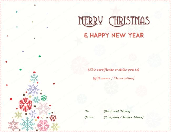Christmas Gift Certificate Christmas Tree Design