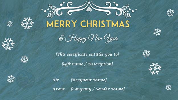 Christmas Gift Certificate Fluffy BG