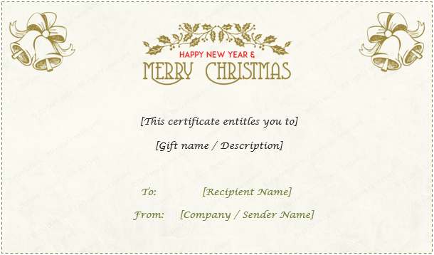 24 Christmas New Year Gift Certificate Templates – This Certificate Entitles You to Template