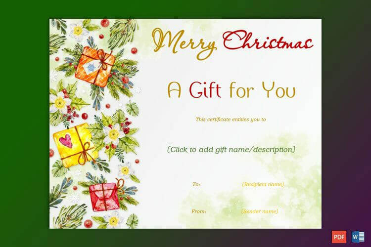 Christmas Gift Certificate (Red Yellow Themed)