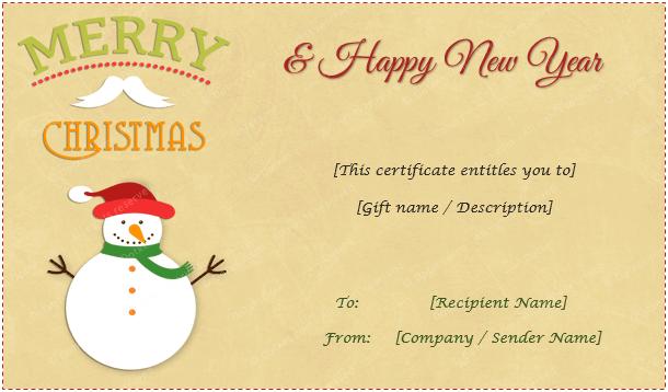 Gift Certificate Snowman