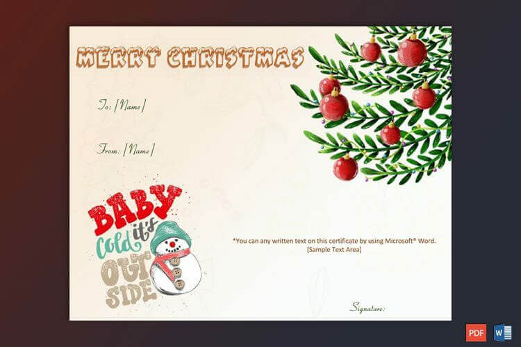 Christmas Gift Certificate Red Green Themed Design