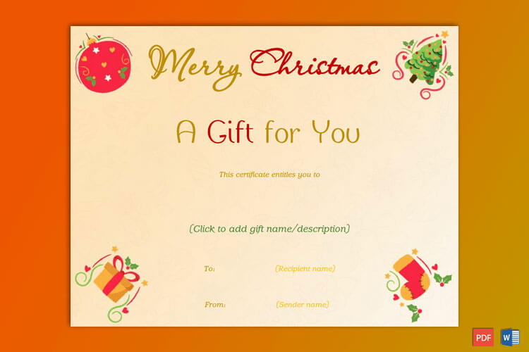 Christmas Gift Certificate Ornaments Themed Border