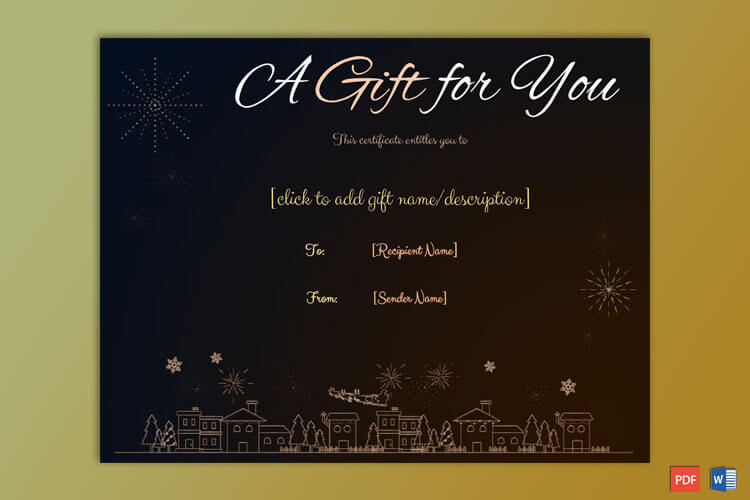Christmas Gift Certificate Santa Claus