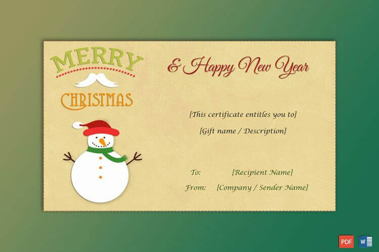 Editable Christmas Gift Certificate (Snowman)
