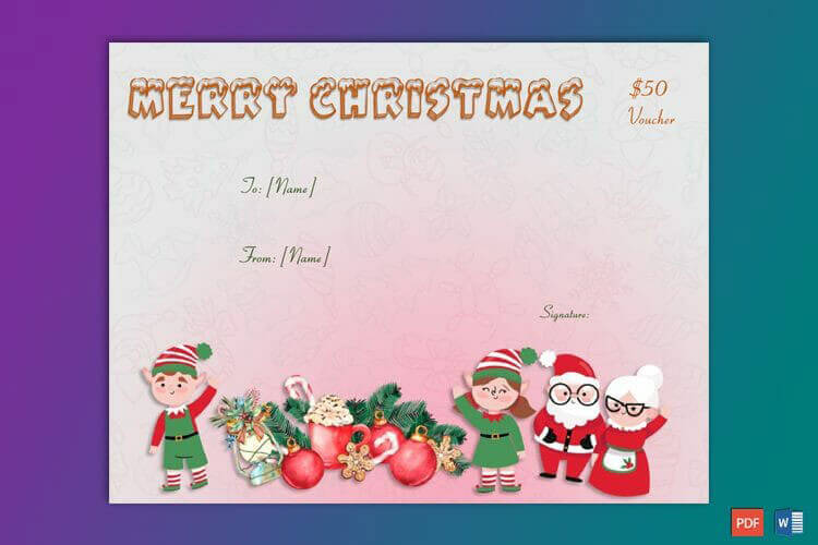 Pink Themed Christmas Gift Certificate