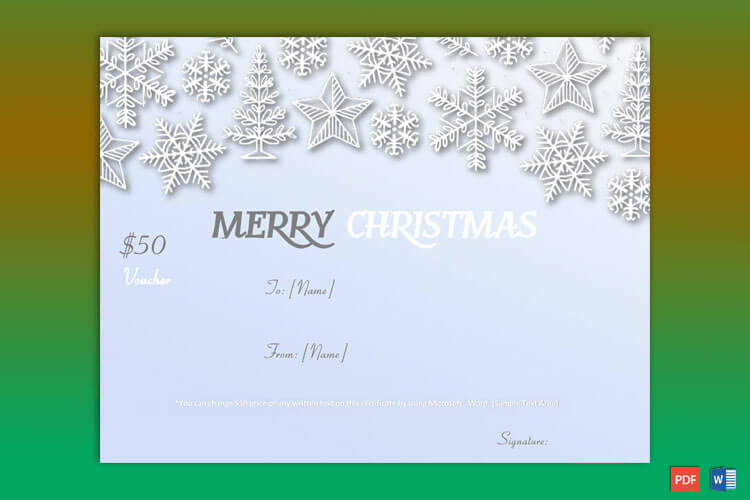 Snow Flakes Themed Christmas Gift Certificate