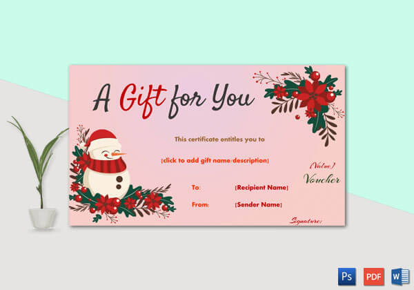 Christmas Gift Certificate – Pink With Red Trimmings Border