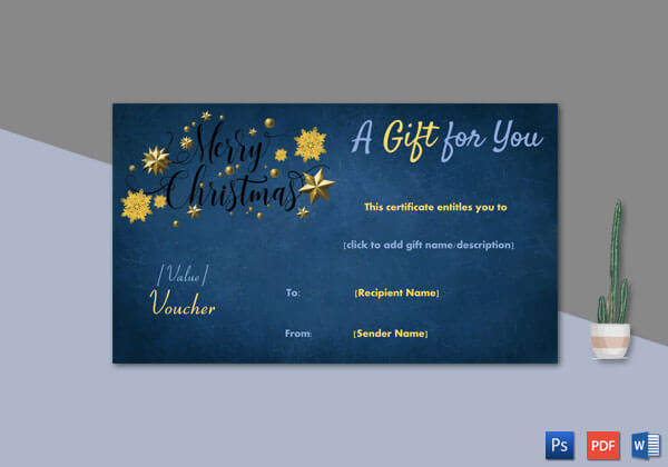 Christmas Gift Certificate – Blue With Gold Trimmings Background