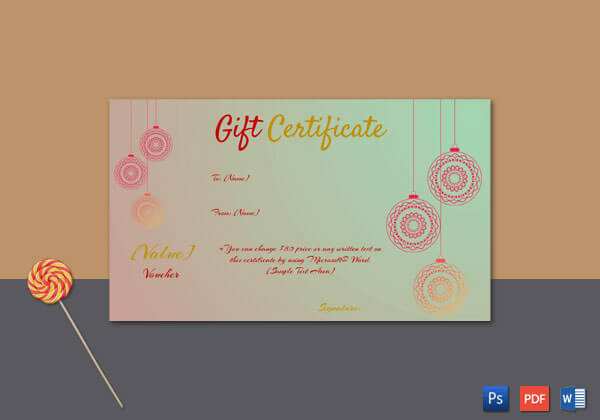 Christmas Gift Certificate – (Red,Green,Gold Background)