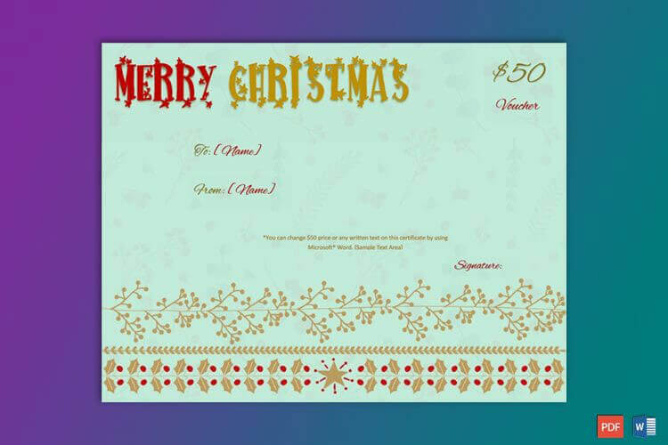 Christmas Gift Certificate Sky Blue Background