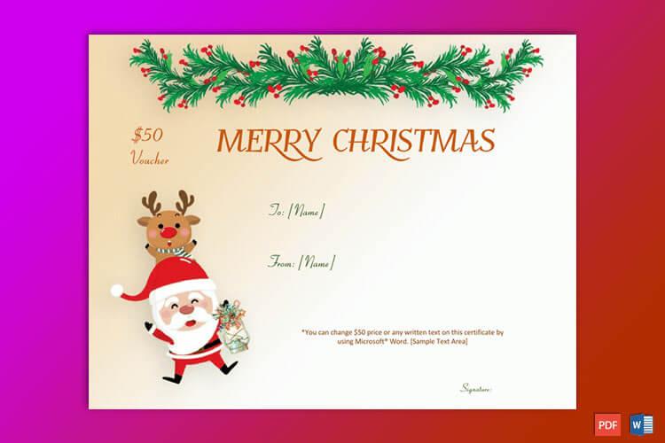 Christmas Gift Certificate Dancing Santa Themed