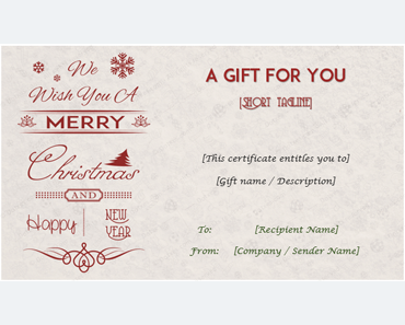 24+ Christmas U0026 New Year Gift Certificate Templates  Certificate Templates Microsoft Word