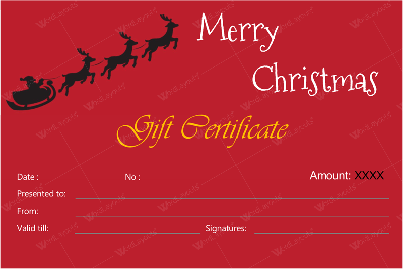 Christmas business gift certificate template