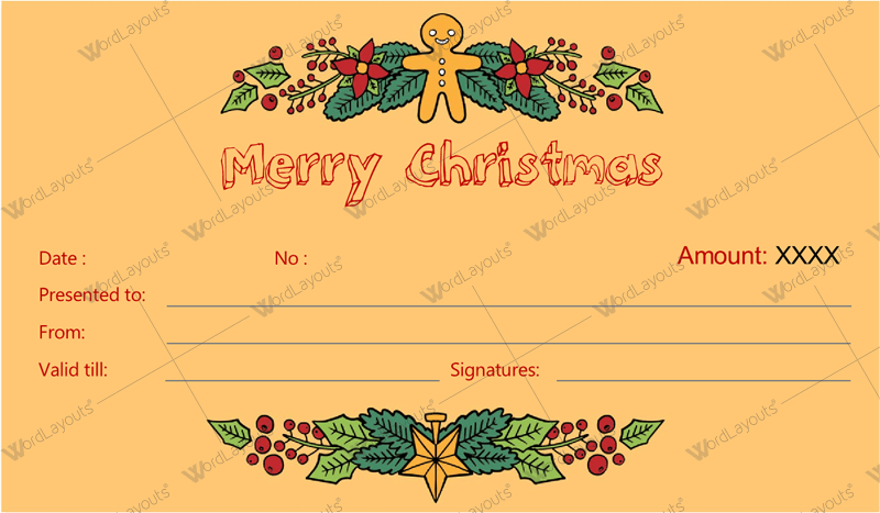Christmas free gift certificate template word