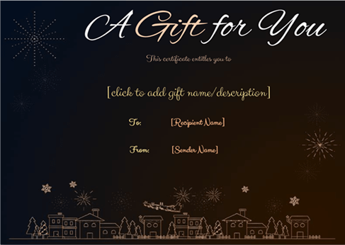Christmas gift certificate template 1
