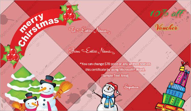24 christmas new year gift certificate templates christmas snowman and tree themed gift certificate template yelopaper Gallery