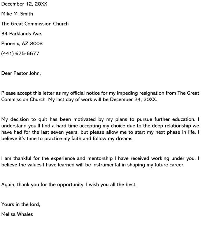 Church Resignation Letter
