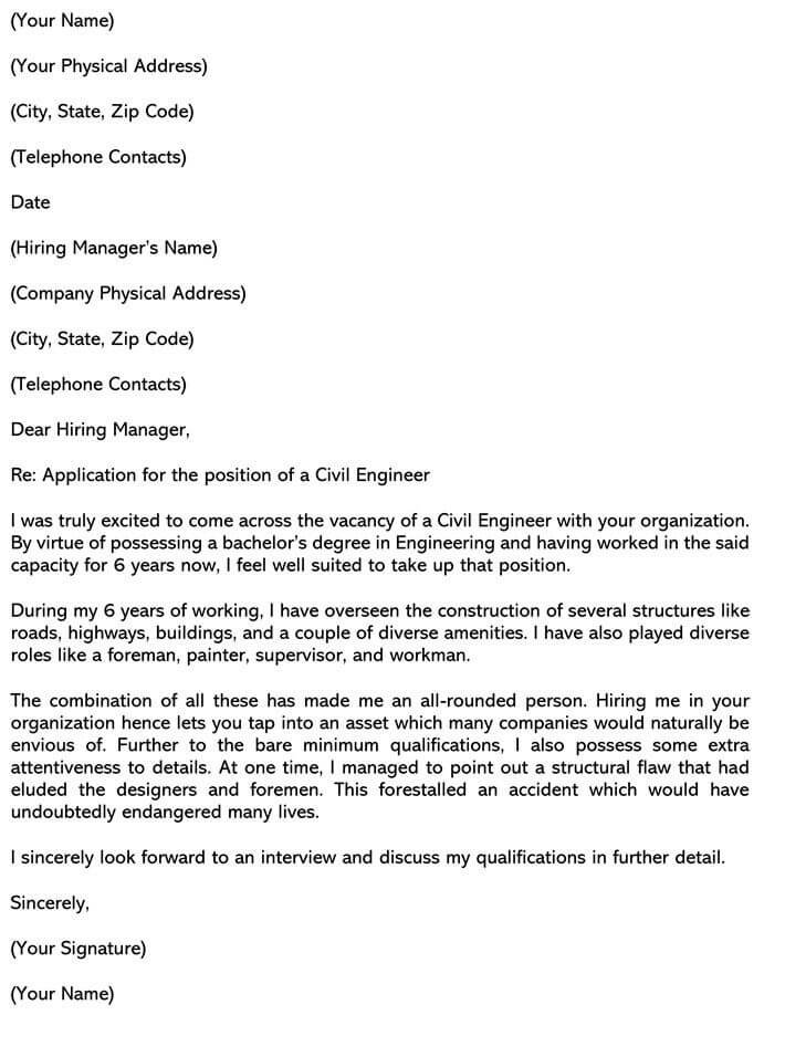 Sample Civil Engineer Cover Letters Email Examples