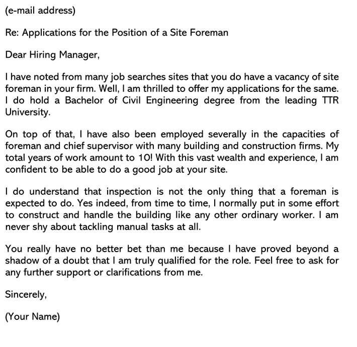 Civil Engineering Cover Letter Email Example