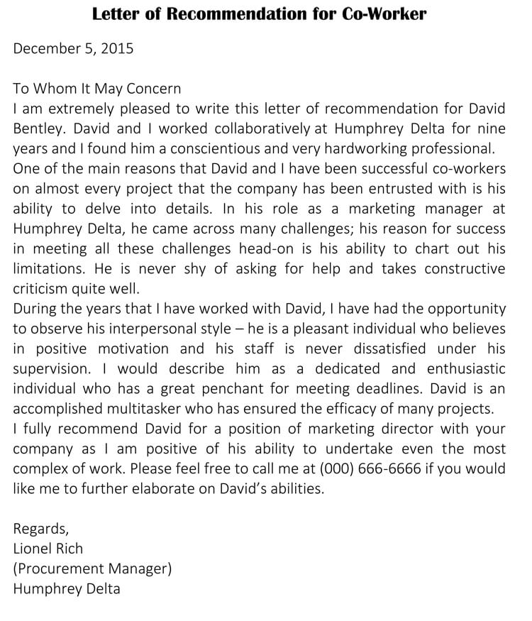 Letter Of Recommendation Peer from www.wordtemplatesonline.net